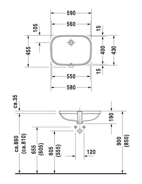 Rysunek techniczny umywalki Duravit D-code 0338560000-image_Duravit_0338560000_4