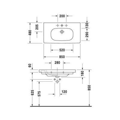 rysunek techniczny umywalki meblowej D-code 034285 00 002-image_Duravit_03428500002_3