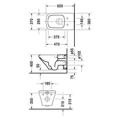 Wymiary techniczne toalety podwieszanej Duravit Durastyle 2542090000-image_Duravit_2542090000_4