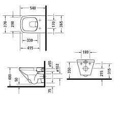 Wymiary techniczne wiszącej miski wc Duravit Durastyle 2538090000-image_Duravit_ 2538090000_3