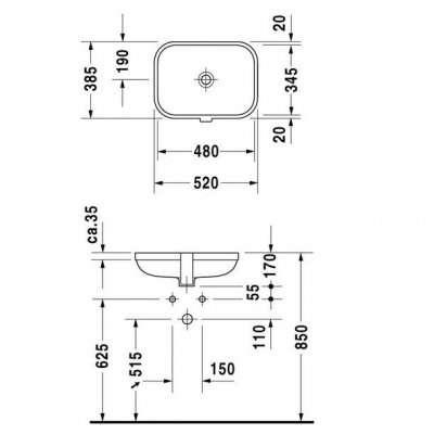 Rysunek techniczny umywalki Duravit Happy D.2 0457480000-image_Duravit_0457480000_4