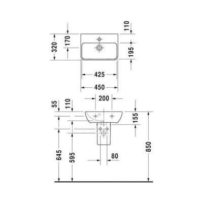 Wymiary techniczne umywalki Duravit Me by Starck 45x32 0719450010-image_Duravit_0719450010_4