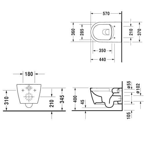rysunek techniczny miski Me by Starck 45290900A1-image_Duravit_45290900A1_3