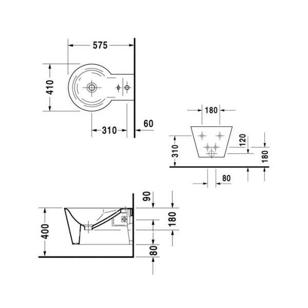 Wymiary techniczne bidetu wiszącego Starck 1 0274150000-image_Duravit_0274150000_3