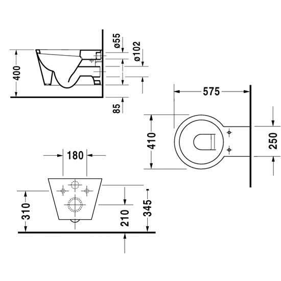 Wymiary techniczne miski wiszącej Starck 0210090064-image_Duravit_0210090064_4