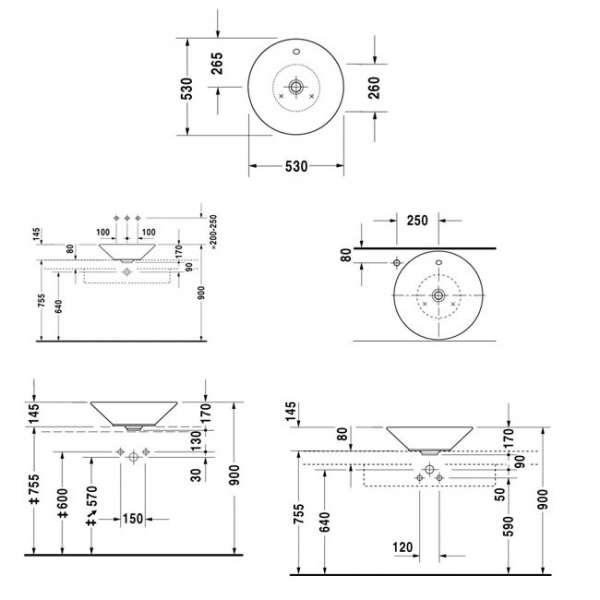 wymiary techniczne uywalki Starck 1 0408530000-image_Duravit_0408530000_3