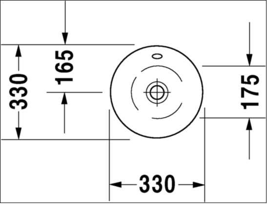 Wymiary techniczne umywalki Starck 0408330000-image_Duravit_0408330000_3