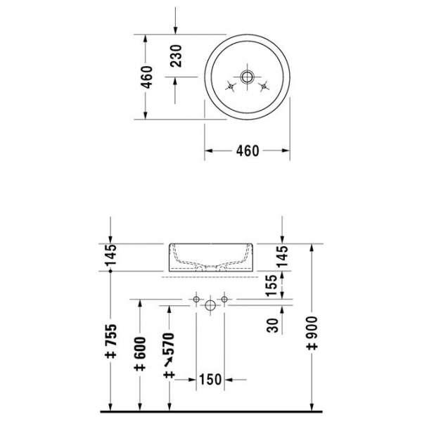 Wymiary techniczne umywalki Starck 1 044546 00 00-image_Duravit_0445460000_3