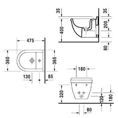 Rysunek techniczny bidetu wiszącego compact Duravit Starck 3 22311500000 -image_Duravit_2231150000_3