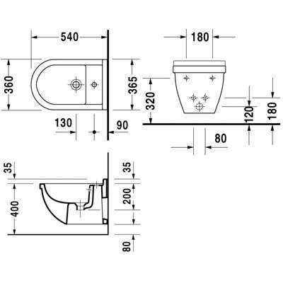 Rysunek techniczny bidetu wiszącego Duravit Starck 3 2230150000-image_Duravit_2230150000_3