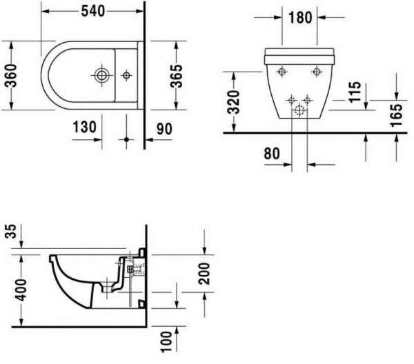 Rysunek techniczny bidetu wiszącego Duravit Starck 3 2280150000-image_Duravit_2280150000_3