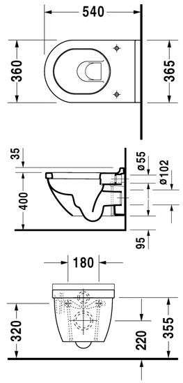 Rysunek techniczny miski wc wiszącej Duravit Starck 3 2225090000-image_Duravit_2225090000_4