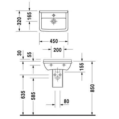 rysunek techniczny małej umywalki Starck 3-image_Duravit_0750450000_3