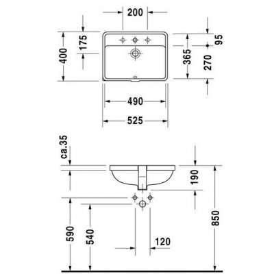 rysunek techniczny umywalki Starck 3 030249-image_Duravit_0302490000_3