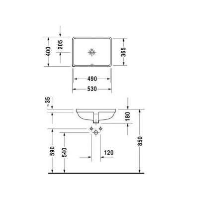 rysunek techniczny umywalki podblatowej Starck 3 -image_Duravit_0305490000_3