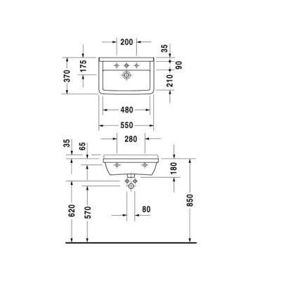 rysunek techniczny umywalki 55 Starck 3 Compact 030155 0000-image_Duravit_0301550000_3