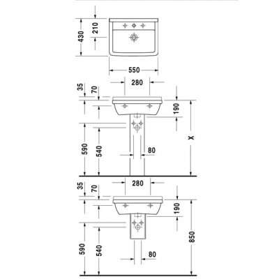 rysunek techniczny umywalki 55 Starck -image_Duravit_0300550000_3