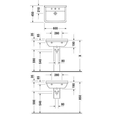 rysunek techniczny umywalki 60 starck 3 030060 00 00-image_Duravit_0300600000_3