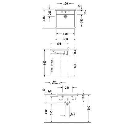 rysunek techniczny umywalki 60 Starck 3 030960 00 00-image_Duravit_0309600000_3