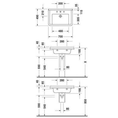 rysunek techniczny umywalki 70 Starck 3-image_Duravit_0304700000_3