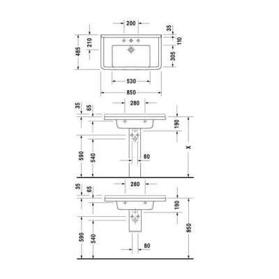 rysunek techniczny umywalki 85 Starck 030480 0000-image_Duravit_0304800000_3