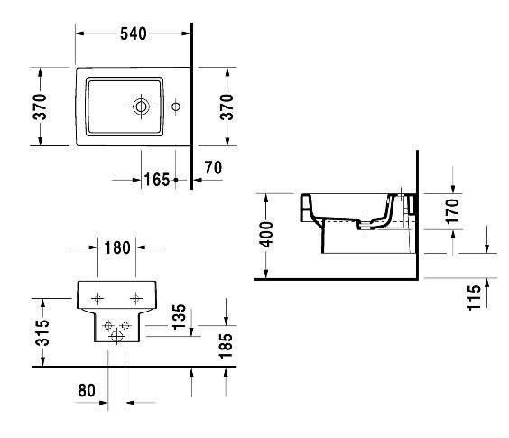 Rysunek techniczny wiszącego bidetu Duravit Vero 2239150000-image_Duravit_2239150000_5