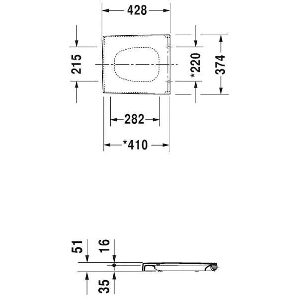 wymiary techniczne deski sedesowej Vero 0067690000-image_Duravit_0067690000_3