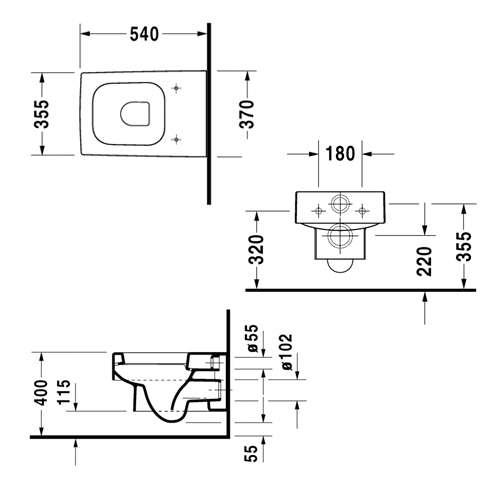 Rysunek techniczny miski wiszącej Duravit Vero 2217090064-image_Duravit_2217090064_3