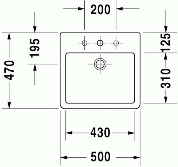 Rysunek techniczny umywalki Duravit Vero 045250 0000-image_Duravit_0452500000_3