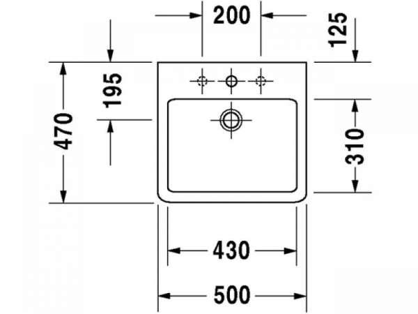 Rysunek techniczny umywalki Duravit Vero 045450 0027-image_Duravit_0454500027_3