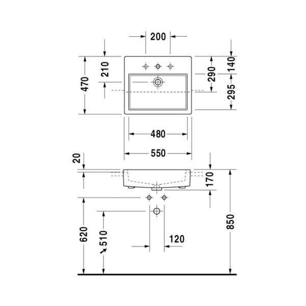 Rysunek techniczny umywalki Duravit Vero 0314550000 -image_Duravit_0314550000_3