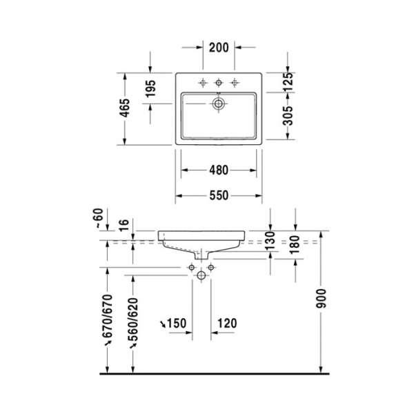 Rysunek techniczny umywalki meblowej Duravit Vero 0315550000-image_Duravit_0315550000_3