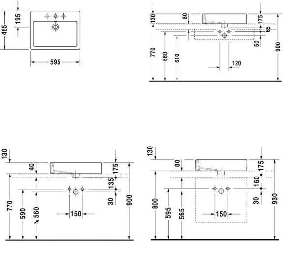 Rysunek techniczny umywalki Duravit Vero 045260 00 00-image_Duravit_0452600000_3