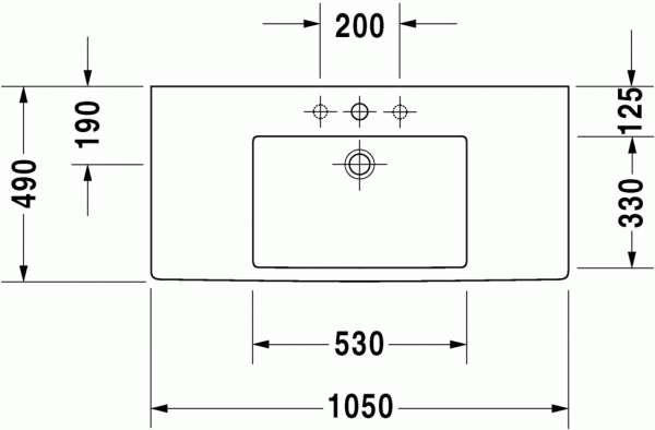 Rysunek techniczny umywalki Vero 032910-image_Duravit_0329100000_3