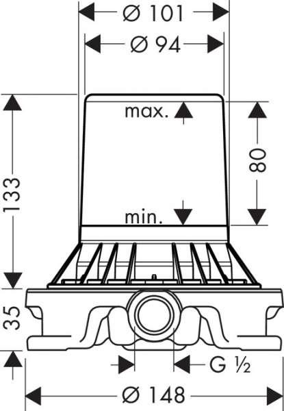 Wymiary techniczne elementu podstawowego do kolumn wannowych Hansgrohe Axor 10452180-image_Hansgrohe_10452180_4