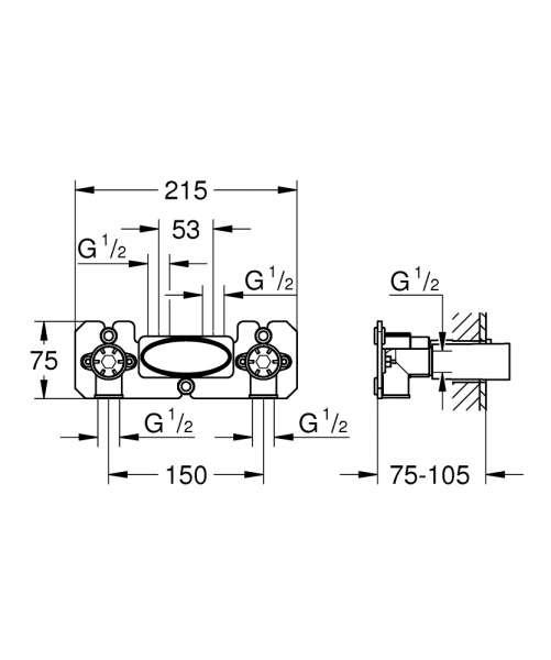 rysunek techniczny elementu podtynkowego grohe 26449000-image_Grohe_26449000_3