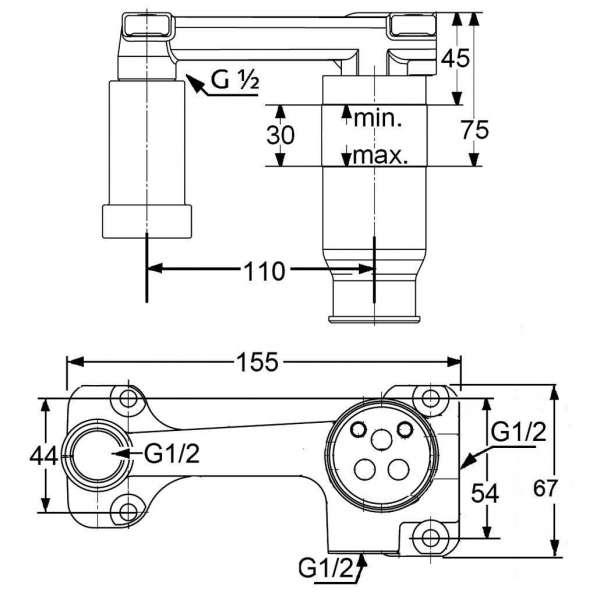 Wymiary techniczne elementu podtynkowego Kludi 38243 do podtynkowych baterii umywalkowych.-image_Kludi_38243_5