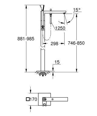 Wymiary techniczne kolumny wannowej Grohe Eurocube Joy 23667000, elementu zewnętrznego.-image_Grohe_23667000_3