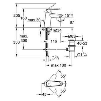 Wymiary techniczne baterii umywalkowej Grohe Eurodisc Cosmopolian 33190002-image_Grohe_33190002_3