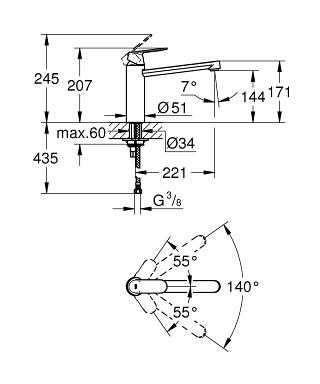 Wymiary techniczne baterii kuchennej Grohe Eurosmart Cosmopolitan 30193000-image_Grohe_30193000_3