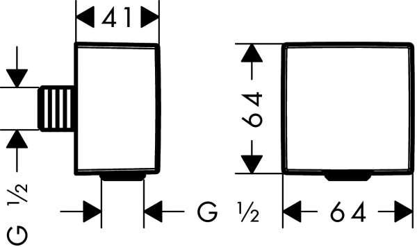 Rysunek techniczny przyłącza kątowego Hansgrohe Fixfit 26455000-image_Hansgrohe_26455000_4