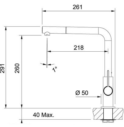Wymiary techniczne baterii kuchennej Franke 115.0373.945-image_Franke_115.0373.945_2