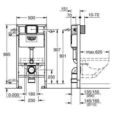 Wymiary techniczne stelaża podtynkowego wc Grohe Rapid 38525001 -image_Grohe_38525001_3