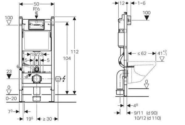 Rysunek techniczny z wymiarami spłuczki podtynkowej Geberit Duofix Basic UP100 111153001.-image_Geberit_111.153.00.1K_3