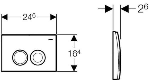 Rysunek techniczny z wymiarami przycisku spłukującego Geberit Delta 21 pasujący do spłuczek podtynkowych UP100.-image_Geberit_115.125.11.1_4