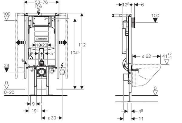 Wymiary techniczne stelaża podtynkowego narożnego do wc Geberit Duofix 111.390.00.5-image_Geberit_111.390.00.5_2