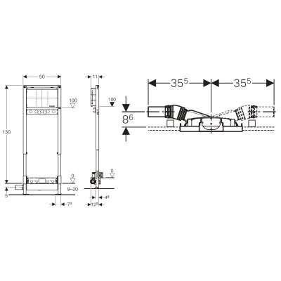 Rysunek techniczny odpływu ściennego Geberit Duofix 111.580.00.1-image_Geberit_111.580.00.1_3