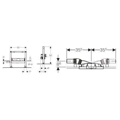 Rysunek techniczny odpływu ściennego Geberit Duofix 111.593.00.1 -image_Geberit_111.593.00.1_3