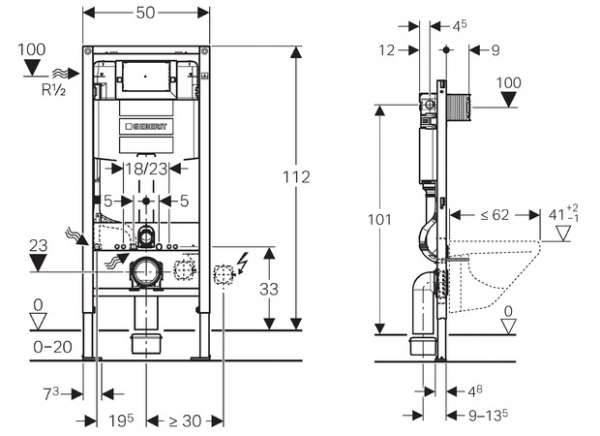Rysunek techniczny spłuczki podtynkowej Geberit Omega 111.060.00.1-image_Geberit_111.060.00.1_4