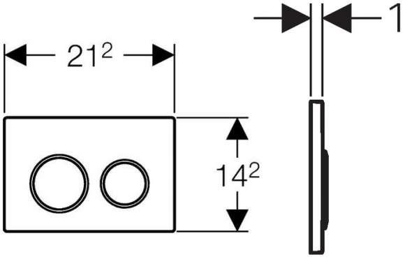 Wymiary techniczne przycisku spłukującego do wc Geberit Omega 20 115.085.KM.1 -image_Geberit_115.085.KM.1_4
